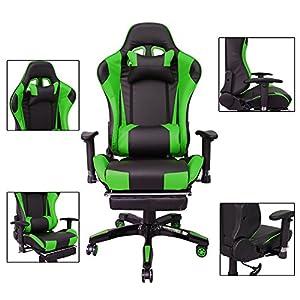 51lVQ11clBL. SS300  - HG-Silla-giratoria-de-oficina-Gaming-Chair-Premium-Apoyabrazos-tapizados-Comfort-Racing-Chair-Capacidad-de-carga-200-kg-Altura-ajustable-negro-verde
