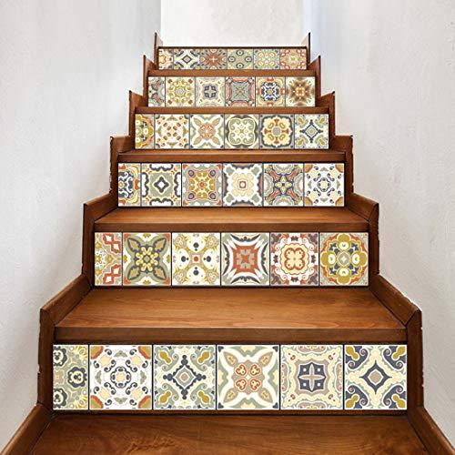Quner Treppe Aufkleber, Selbstklebend Wasserdicht DIY Wandtattoo PVC 6  Stück Treppen Abziehbild Dekor Entfernbare Abziehbilder (Stil 4)