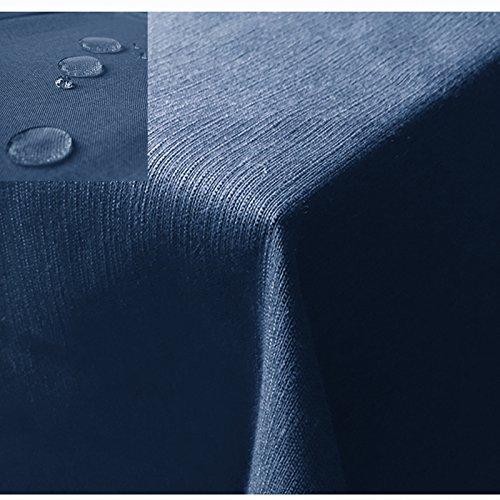 JEMIDI Tischdecke / Gartentischdecke Lotus Effekt Leinenoptik Tischdecke Decke Leinen Fleckschutz XL Blau Eckig 110cm x 110cm