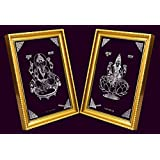 999 Silver Plated Laxmi Maa And Ganesh Photo Frame (6x8) For Diwali Gifts, Corporate Gifts, Office Gifts And Home Décor