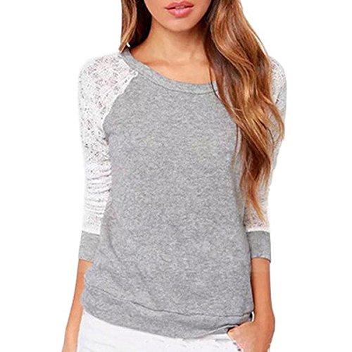 Tongshi Las mujeres sin respaldo de manga larga del cordón del bordado del ganchillo Camisa Blusa (EU 38(Asia  L))