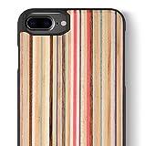 iCASEIT Holz Schutzhülle für Apple iPhone 8 Plus Ultra Slim Echtem Holz Hülle Hart Back Cover Bumper Etui für Apple iPhone 8 Plus and iPhone 7 Plus (5.5 Zoll) Handyschale - DC2209 - Rainbow