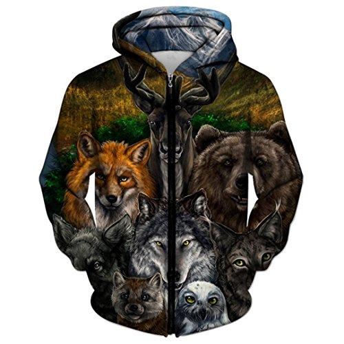 Wo Licht und Dunkelheit Sich treffen Von Wolf 3D Zipper Hoodies Männer Zip Sweatshirt Kapuzenjacke Unisex Animal Drop ZIP048 5XL -
