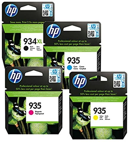 HP 934XL et HP 935 (BK/C/M/Y) Original, véritable &Noir Lot de 4 Cartouche d