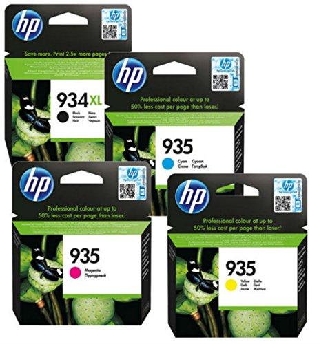 HP 934X L Multipack cartuchos de impresora originales (Negro, Cian, Magenta, Amarillo) con gran alcance para HP Officejet Pro