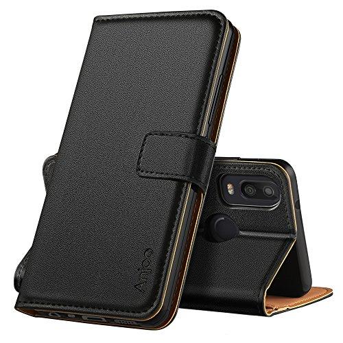 Anjoo BQ Aquaris X2 Hülle, Handyhülle BQ Aquaris X2 Schutzhülle, Tasche Leder Flip Case Brieftasche Etui mit Kartenfach und Ständer für BQ Aquaris X2 (Schwarz)