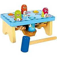 """Klopfbank """"Hau den Vogel"""", Schlagspiel aus Holz, buntes Design mit integriertem Zahlenspiel und Wippe, inkl. Holzhammer, Holzspielzeug ab 18 Monate"""