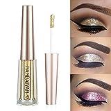 Turelifes Diamond Glitter Liquid Eyeshadow & Eyeliner Pen Starry Paillettes Mermaid Eye Shadow Long Lasting Shiny e pigmentato impermeabile Shimmer scintillante Occhi trucco (1 Oro)