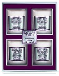 Baylis & Harding Mosaic Midnight Fig and Pomegranate Votive Candle Set - Pack of 4
