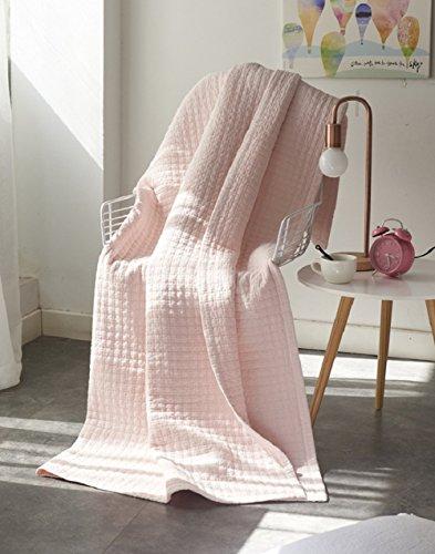 Alicemall Tagesdecke Bettüberwurf Baumwolle Quilt für Bett Sofa Patchwork Gesteppt Steppdecke 200x230 CM - Rosa