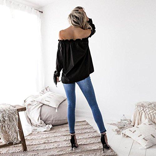 Overdose,Femme Chemise Satin Top épaules dénudées Manches longues Top Encolure Bardot Casual Blouse Noir