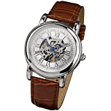 PACIFISTOR® Men's Winding Up Mechanical Wrist Watch White Dial Analogue Silver Brown Leather