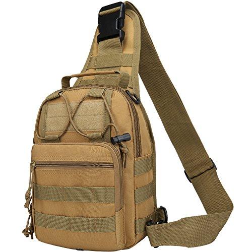 Loowoko Schultertasche, Tactical Umhängetasche Brusttasche Rucksack mit Einem Gurt Sling Tasche Messenger Schultertasche Crossbag Sling Rucksack für Radfahren Wandern Camping Freizeit Tasche