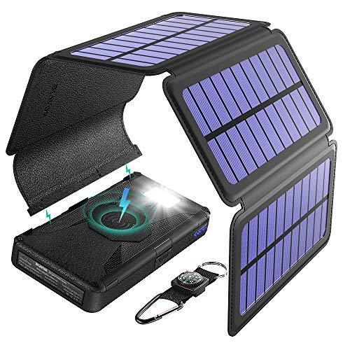 BLAVOR SolarLadegerät Wireless Powerbank,20000mAh Externer Akku mit 5 Abnehmbaren Solar Panels Tragbarer Qi-ladegerät SOS Taschenlampe Typ C-Anschluss und Dual-Ausgang -