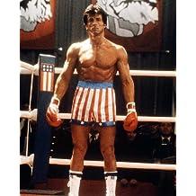 Rocky IV Sylvester Stallone en estrellas y rayas pantalones cortos en ring14X 11fotografía de promoción
