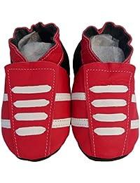 """""""Basket Red"""" de BBKDOM- Chaussons bébé et enfant en cuir souple de qualité supérieure Fabrication Européenne de 0-5 ans"""