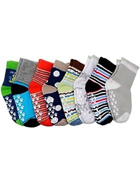 Tokkids - Baby ABS Socken, Anti Rutsch Socken für 6-30 Monate Baby Mädchen und jungen, Antirutsch 8-Pack Babysocken