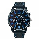 FITT Orologio da uomo al quarzo da corsa con orologio da polso analogico da uomo, in acciaio inossidabile (Blu)