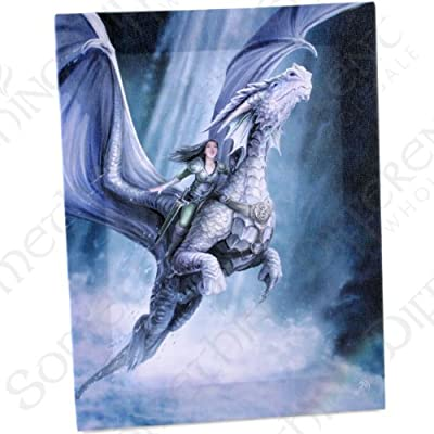 Take To The Air - A Gothic Avenger on Winged Dragon - Fantastic Design by Artist Anne Stokes - Canvas Picture on Frame Wall Plaque / Wall Art