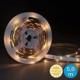 Briloner Leuchten 5 m LED Band mit 150 x LED inklusive Schalter, LED Stripe selbstklebend, für Vitrine, Bett, Schrank, Treppe & Co, LED Streifen 14 W