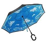 PLEMO Regenschirm Seitenverkehrter Stockschirm Golfschirm