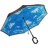 PLEMO Parapluie Canne, Parapluie Inversé Double Couche, Coupe du Vent Mains Libres, Idéal pour Voyage et Voiture, Ciel Ensoleillé Bleu