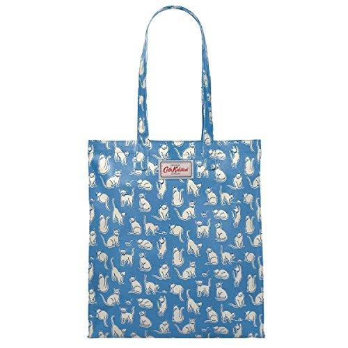 Cath Kidston Book Bag große Henkeltasche Beschichtete Baumwolle Mono Cats Mid Blue Blau mit Katzen 33 cm x 36 cm x 8 cm -