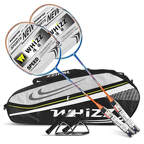 Whizz Badminton Schläger Racket Set Profi 100% Graphit Carbon A730 80g 26lbs (Orange)