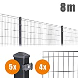 8 m Komplett Set Anthrazit Michl Höhe: 1005 mm Doppelstabmatten + Zubehör