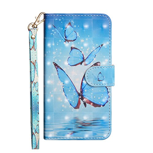 Cozy Hut Sony Xperia L2 Handyhülle [Premium Leder] [3D Design][Magnetverschluss] [Kartenfächern] [Standfunktion] Schutzhülle für Sony Xperia L2 - Blaues Schmetterlingsmeer