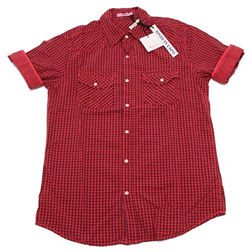 7202P camicia uomo quadretti BERNA manica corta shirt men short sleeves Rosso/Blu