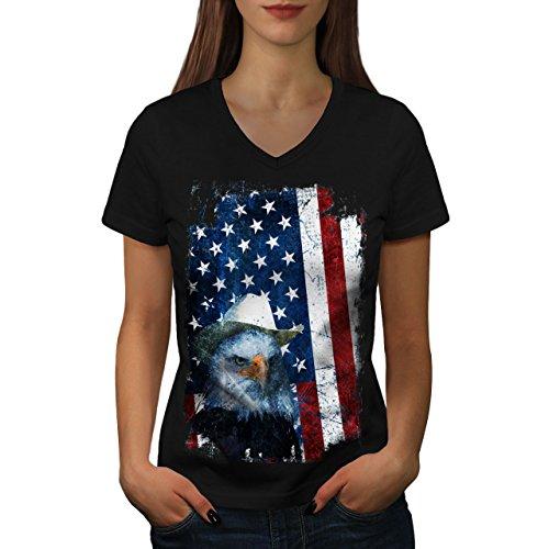 Adler Cowboy Hut Flagge USA Adler Flagge Frau XXL V-Ausschnitt T-Shirt | Wellcoda (Land-flaggen-t-shirt)
