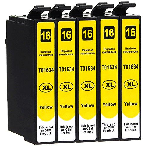 5 Druckerpatronen kompatibel zu Epson 16-XL / T1624 / T1634 (Gelb) passend für Epson WorkForce WF-2010 WF-2500 WF-2510 WF-2520 WF-2530 WF-2540 WF-2630 WF-2650 WF-2660 WF-2700 WF-2750 WF-2760