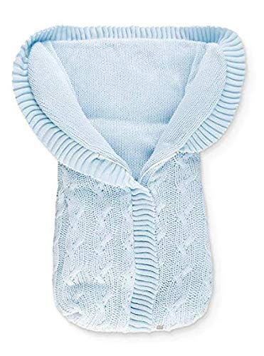 Minutus Fußsack / Winterfußsack für Babytragetasche und Babykörbe, vorne Reißverschluss, Zopfmuster, Hellblau, 75 Cm - Trenzas