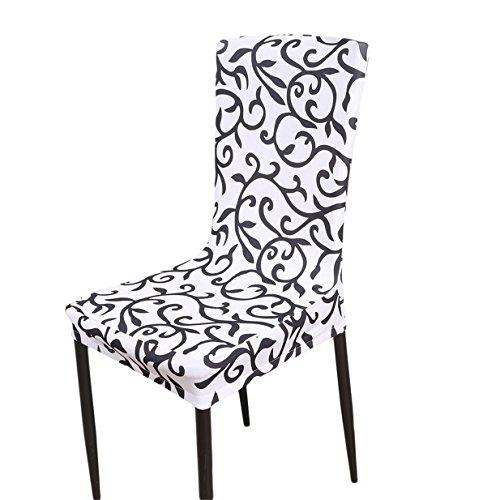 Lalang Mode Einfachheit Bezug waschbar Dining Stuhlhusse Stuhlüberzug Stuhlbezug für Hotel, Haus Dekoration, Hochzeitsessen, Esstisch Deko (Weiß Schwarz)