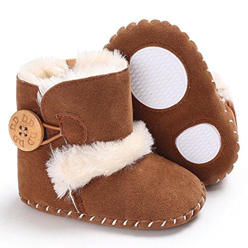 Moginp Lauflernschuhe Süße Junge Mädchen Baby weiche Sohle Schnee Stiefel weiche Krippe Schuhe Kleinkind Stiefel Brown,6-12 Monate (Kleinkind-schnee-stiefel 7)