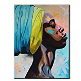 African American Woman Stampa Su Tela, Moderna Astratta Colorato Africa Ragazza Nera Quadro Dipinto Ad Acquerello Su Tela Poster Stampa, Casa Contemporanea Wall Art Décor, Senza Telaio,Blue,60x90cm