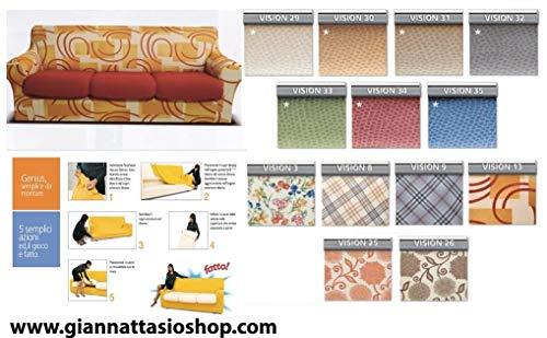 Genius 4d - biancaluna - copri cuscino 2 posti per cuscini da 110 a 160cm - colori fantasia