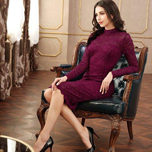 Miusol Damen Elegant Kleider Rundhals Knilanges Rotwein Spitzenkleid Stretch Ball-Abendkleider Gr.M - 6