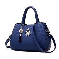 Clearence!Sonnena Women Designer Handbags Fashion Large PU Leather Tote Messenger Multi-Compartment Top-Handle Satchel Shoulder Bags Blue