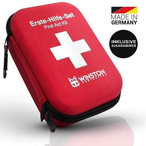 Winston Protection ® Erste Hilfe Set - Erste Hilfe im umfangreichen Set mit Pinzette und Zeckenzange - Inhalt nach DIN Norm - 2 Karabinerhaken und Gürtelschlaufe - Anleitung zu Ersthilfe bei Unfällen
