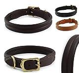 Pear Tannery Fashion-Line Hundehalsband aus weichem Vollrindleder, Versehen mit Einer Naht mittig, S 39-46cm, Schokoladenbraun