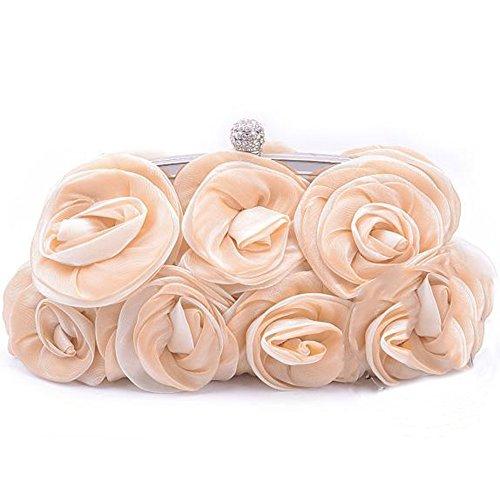 'Spritech (TM) Donna Elegante Rosa Seta partito borsetta borsa a tracolla Mini Crossbody Borsa con motivo floreale, Design Borsa Nero, albicocca