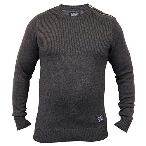 Pullover Herren Brave Soul Strickpulli Top Baumwolle Pullover Rundhals Winter Neu Dunkelgrau - 230SAGE