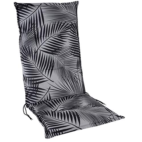 JEMIDI Stuhlauflage Hochlehner Gartenstuhl Hochlenerauflage 120cm x 50cm x 5cm Stuhl Stuhlkissen Sitzkissen (Blätter Grau)