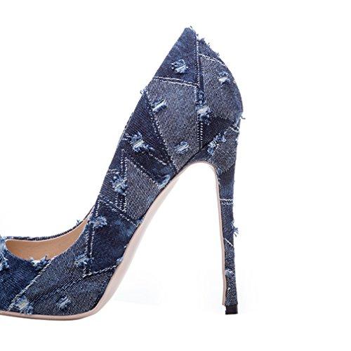 ENMAYER Tacchi alti Donna Tappetini punte a punta Slip-on Corte Pompini Dress Party Azzurro