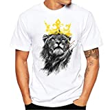 VEMOW T-Shirts Herrren, Männer Löwe Gedruckt Weiß Tees Shirt Kurzarm Bluse