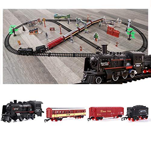 K9CK Spielzeug-Eisenbahn, Dampfzug Spielzeug Räucherzug Spielset mit 5 Wagen / Szene / Rauch Kinder-Bahn Zug für Kinderzimmer - 181 x 78cm