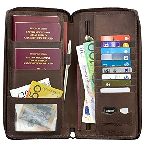 SMART RFID BLOCK Genuine Leather TRAVEL ORGANISER PASSPORT WALLET HOLDER - BROWN GENUINE HUNTER LEATHER - ZIP AROUND - GERMAN TUV TESTED & CERTIFIED by KORUMA (SM-947HBR)