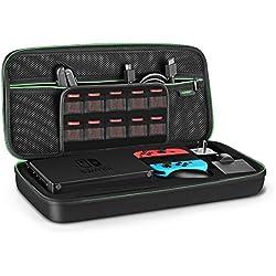 UGREEN Funda Nintendo Switch La Base Switch Estuche Rígido Caja Carcasa de Viaje Transportar el Dock, la Consola Switch, Control Joy-Con con Grip, Adaptador, Cable y 20 Cartuchos de Juegos y Más